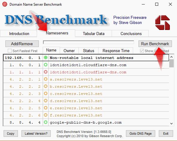 как запустить DNS Benchmark