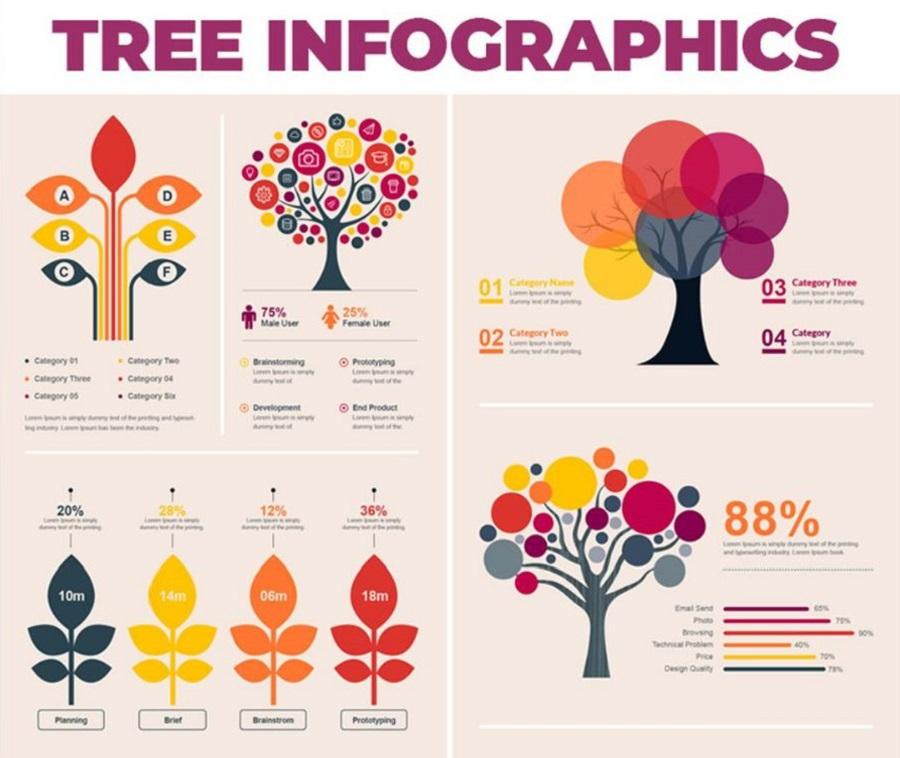 Tree - Бандл элементов инфографики на тему бизнес-услуги, реклама