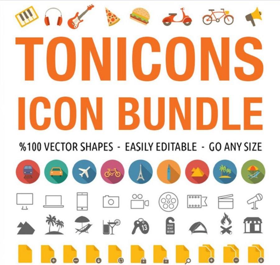 Tonicons – 2000 Бандл векторных иконок на тему компьютеры, интернет