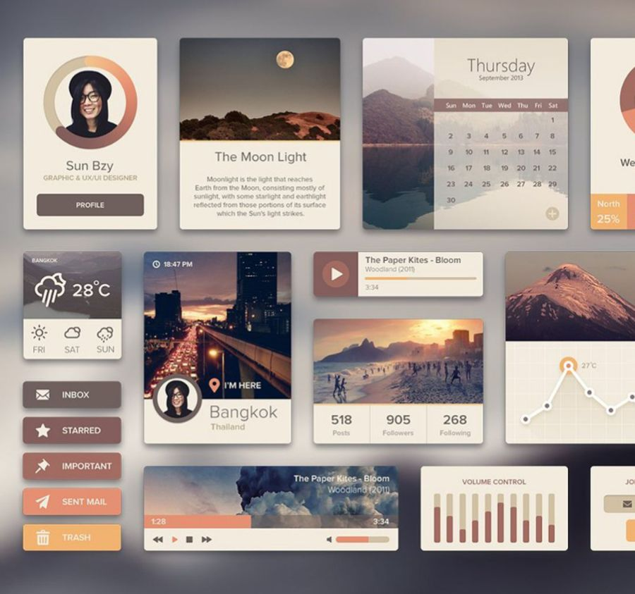 Rainy Season – Премиум-бандл UI элементов интерфейса на художественную тему