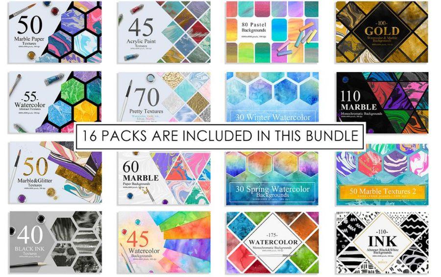 1100 Artistic Backgrounds - премиум-бандл фонов и текстур на тему дизайн