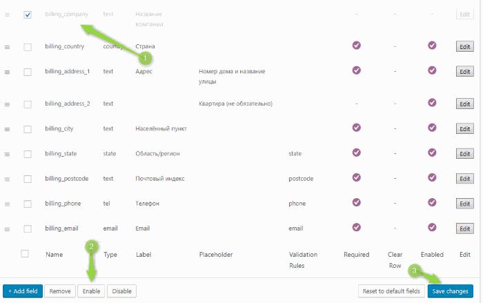 Как изменить поля доставки на странице оформления заказа в Woocommerce?