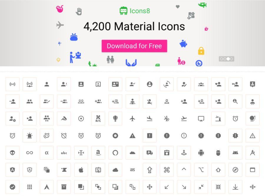 Бесплатная коллекция иконок Material Design