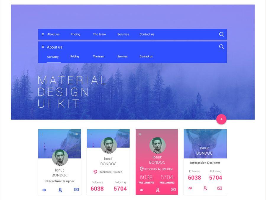 Бесплатный набор UI-китов в стиле Material Design
